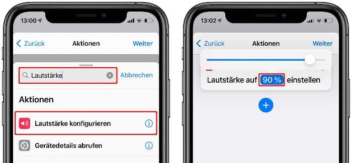 Lautstärke konfigurieren in der Kurzbefehle-App