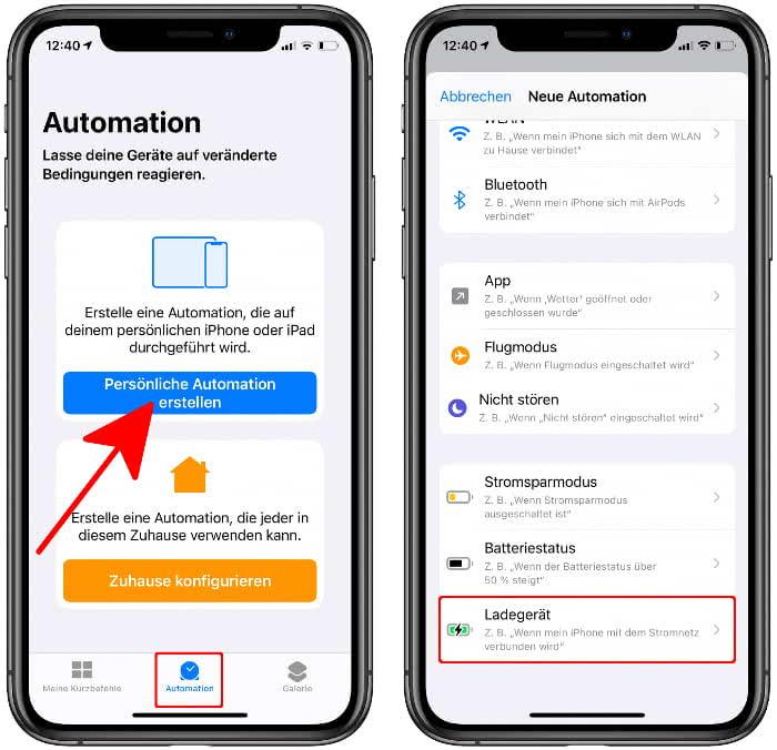 """Auf """"Persönliche Automation erstellen"""" tippen in der Kurzbefehle-App und """"Ladegerät"""" wählen"""