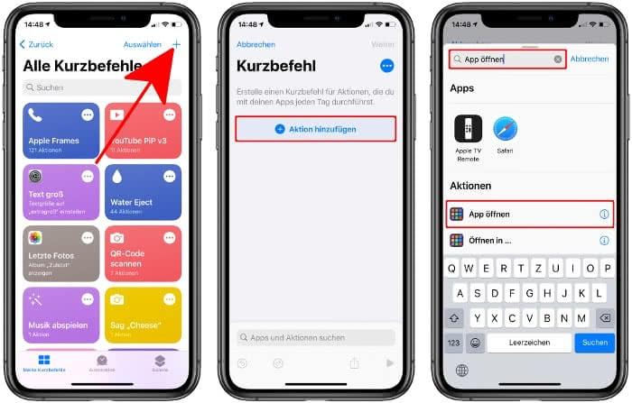 Aktion hinzufügen in der Kurzbefehle-App