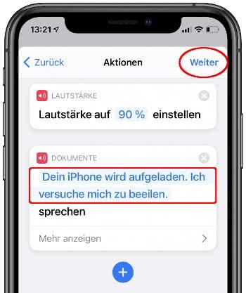 """""""Text sprechen"""" Aktion wählen in der Kurzbefehle-App"""