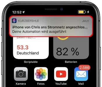 Mitteilung der Kurzbefehle-App