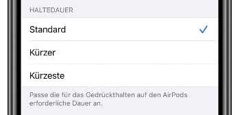 Haltedauer für AirPods Pro einstellen