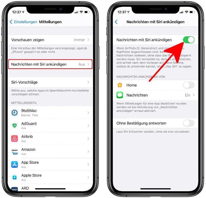 Nachrichten mit Siri ankündigen auf den AirPods Pro