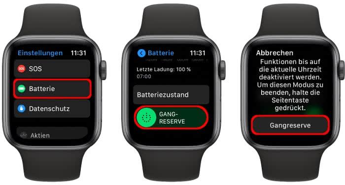 Gangreservemodus auf der Apple Watch aktivieren