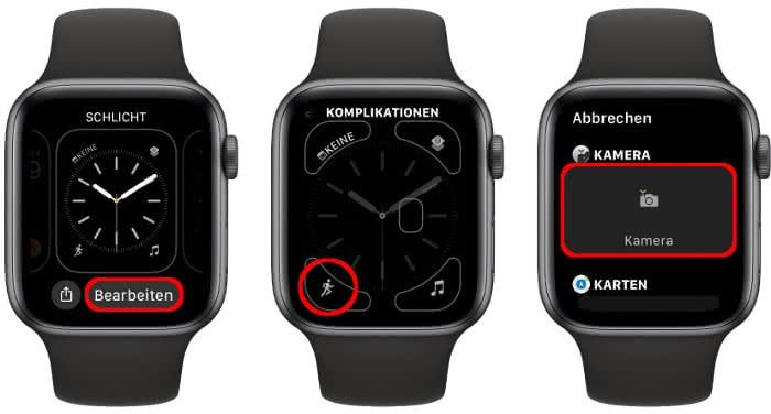 Kamera als Komplikation auf Apple Watch Zifferblatt einstellen