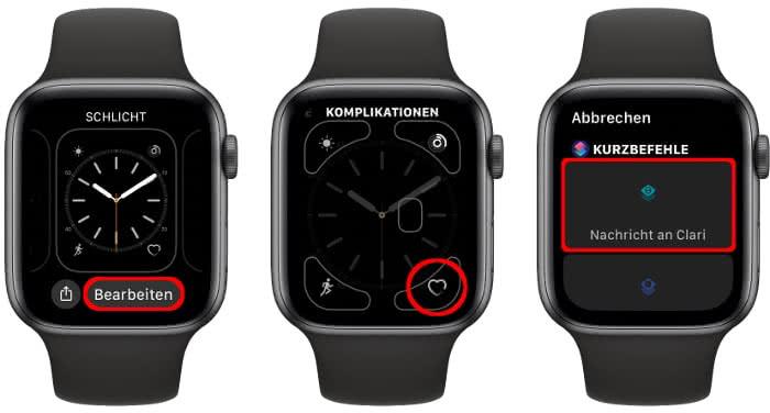 Apple Watch Komplikationen mit Kurzbefehlen belegen.