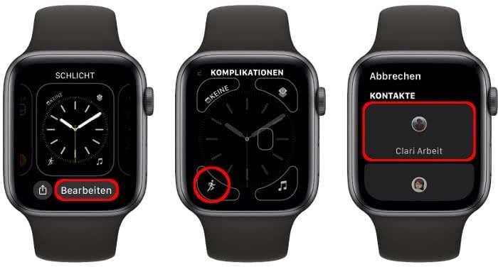 Kontakte-Komplikation auf der Apple Watch nutzen
