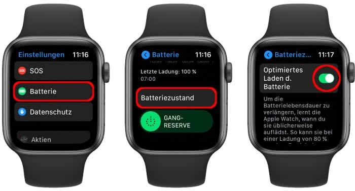 Optimiertes Laden der Batterie aktivieren auf der Apple Watch