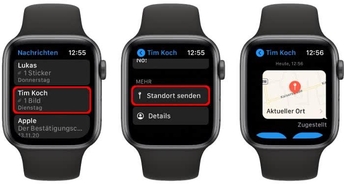 Standort teilen in der Nachrichten-App auf der Apple Watch