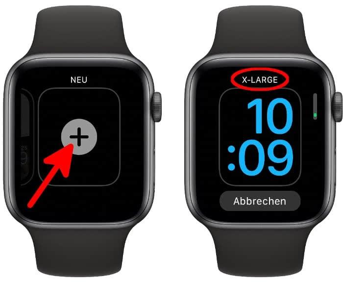 X-Large Zifferblatt auf der Apple Watch wählen