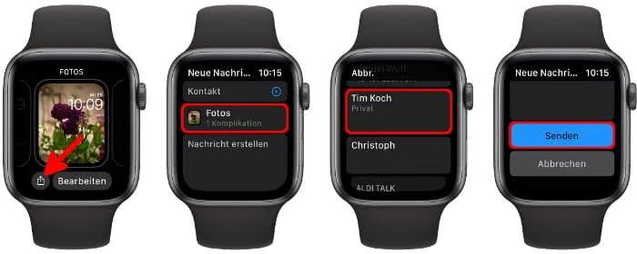Zifferblatt teilen auf der Apple Watch