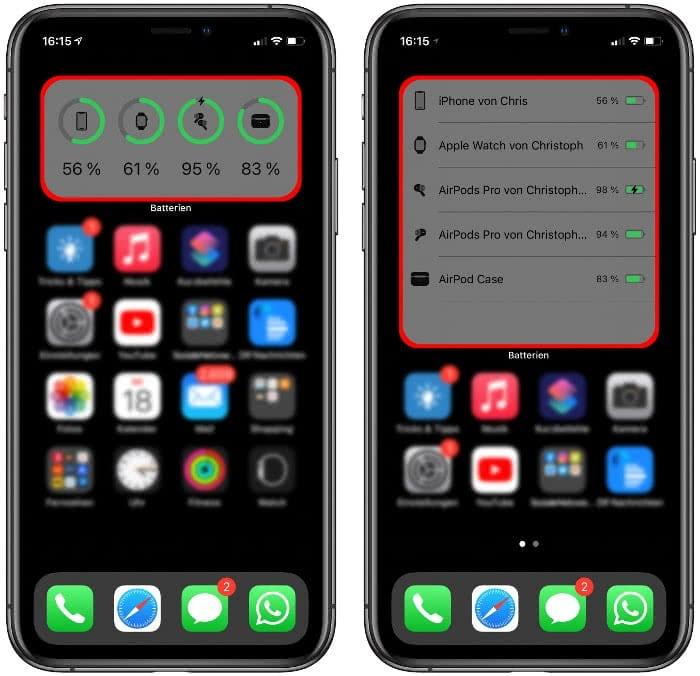 Batterien-Widgets am iPhone mit Akkuladung von AirPods Pro und Apple Watch