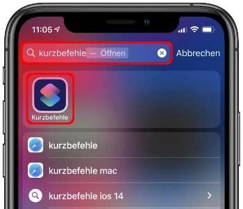 Kurzbefehle-App in der iPhone-Suche