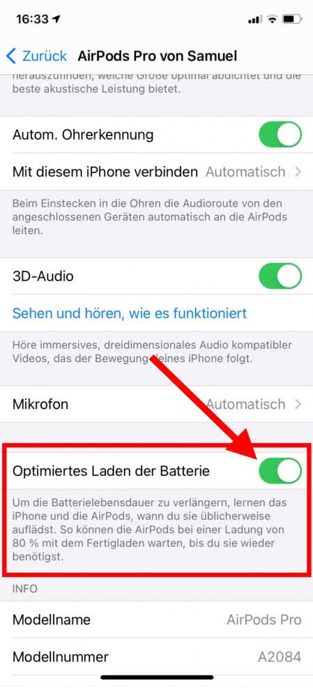 Optimiertes Laden AirPods Pro
