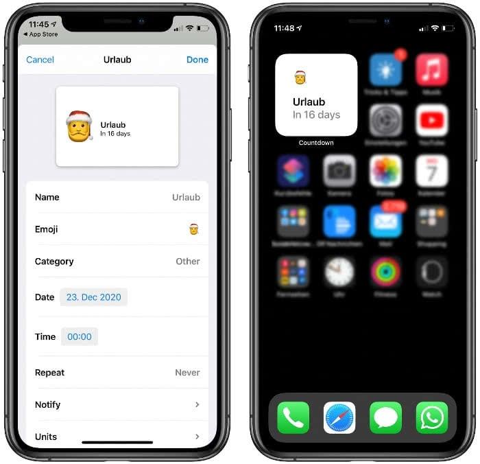 Countdown Widget auf dem iPhone