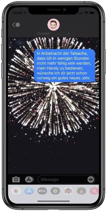 iMessage-Nachricht mit Feuerwerk-Effekt
