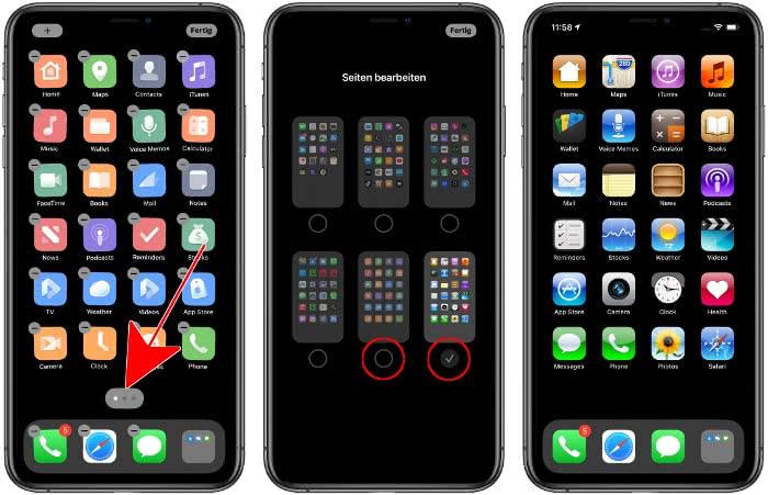 iPhone Homescreen-Seiten ein- und ausblenden