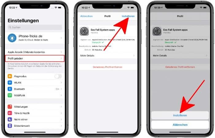 Konfigurationsprofil installieren auf dem iPhone