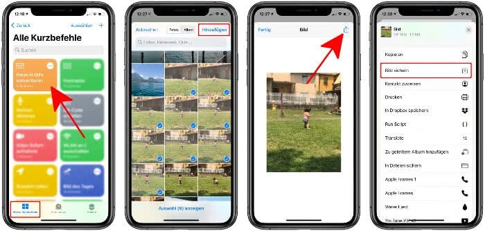 Kurzbefehl Fotos in GIFs konvertieren