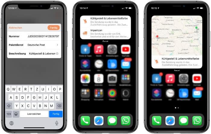Parcel-App Widgets auf dem iPhone
