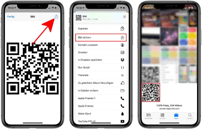QR-Code als Bild sichern in der Fotos-App