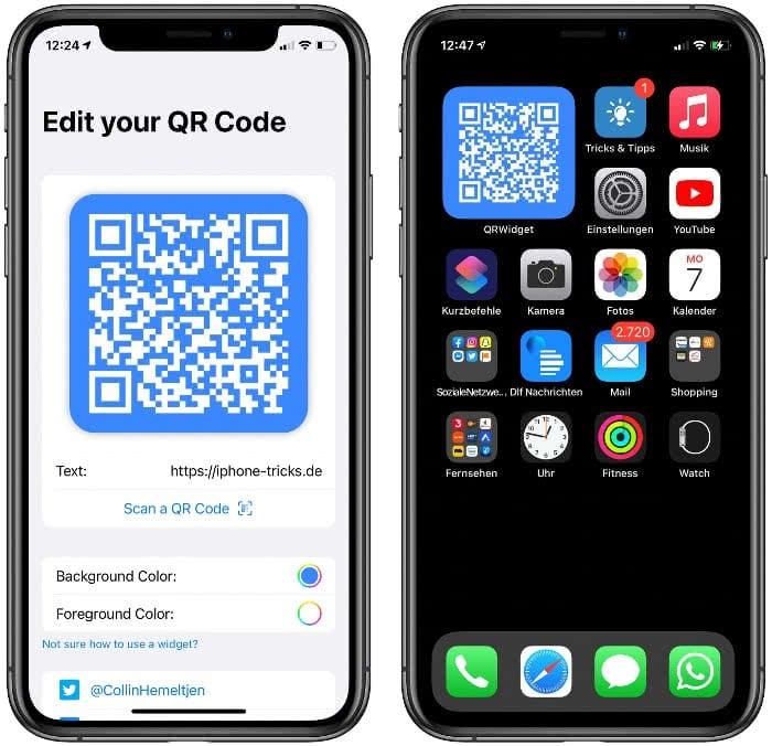 QRWidget App auf dem iPhone