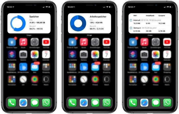 Usage Widget auf dem iPhone