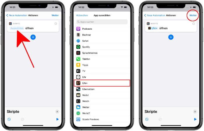 App auswählen für Aktion