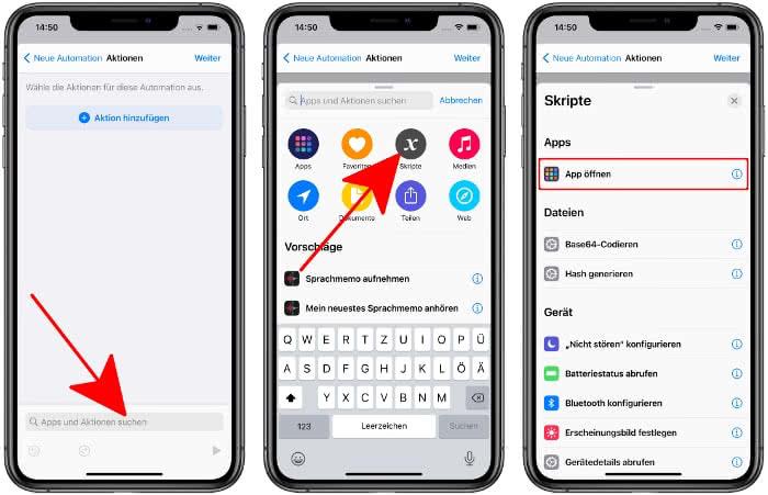 """""""App öffnen"""" als Aktion hinzufügen"""