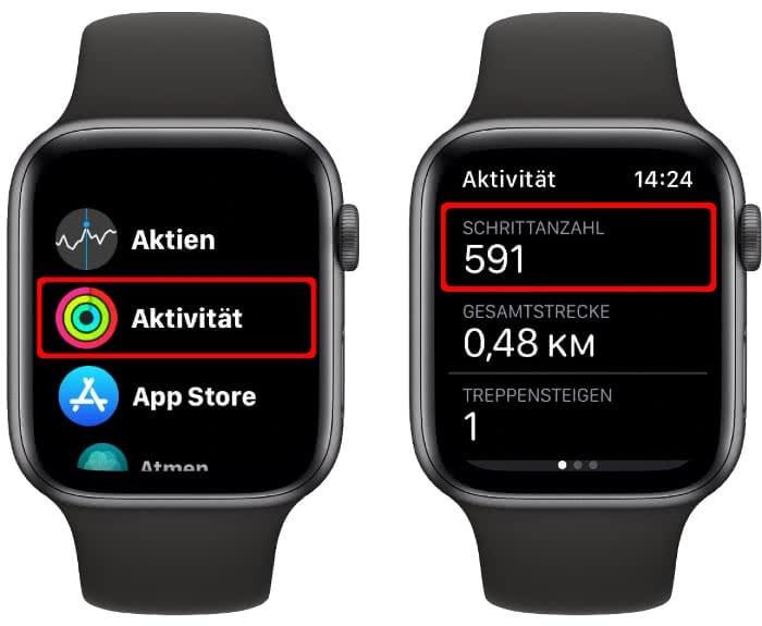 Schrittanzahl anzeigen auf der Apple Watch