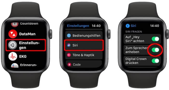 """""""Zum Sprechen anheben"""" aktivieren auf der Apple Watch"""