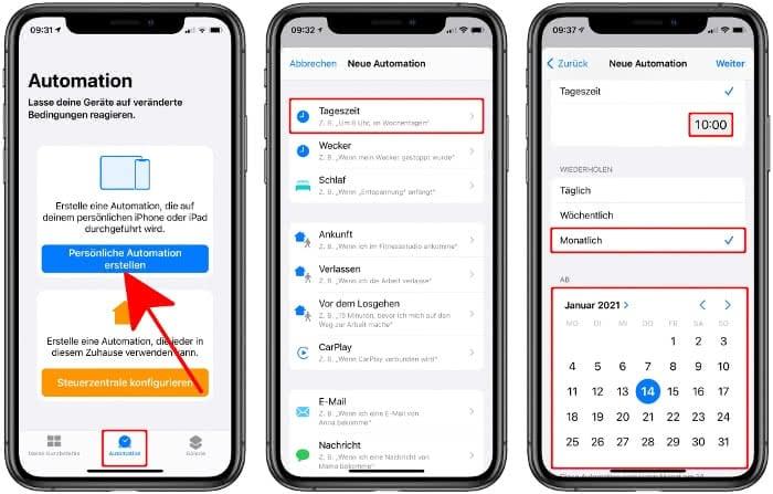 Persönliche Automation erstellen und Tageszeit und Datum einstellen