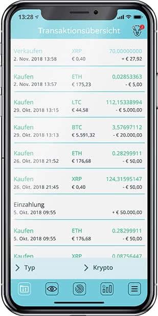BISON App Transaktionsübersicht