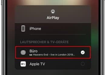 AirPlay Geräteliste