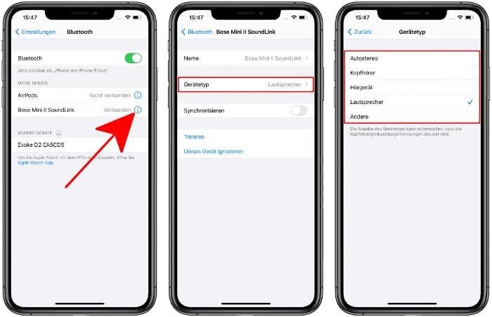 Gerätetyp für Bluetooth-Gerät auswählen