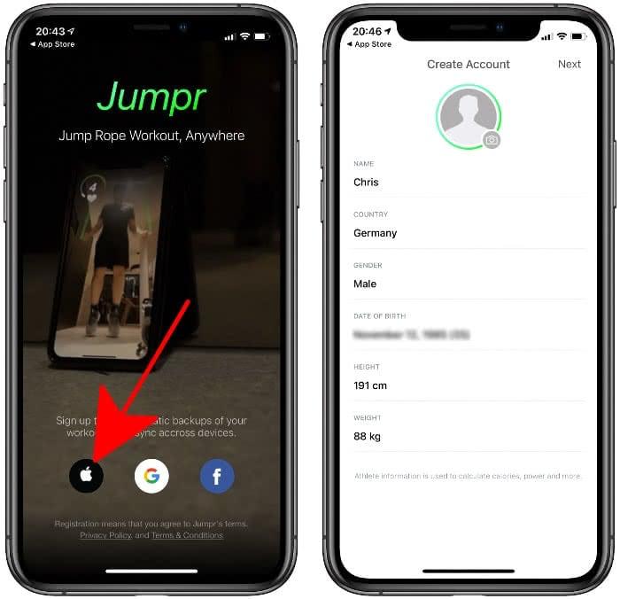 In Jumpr-App anmelden und App einrichten