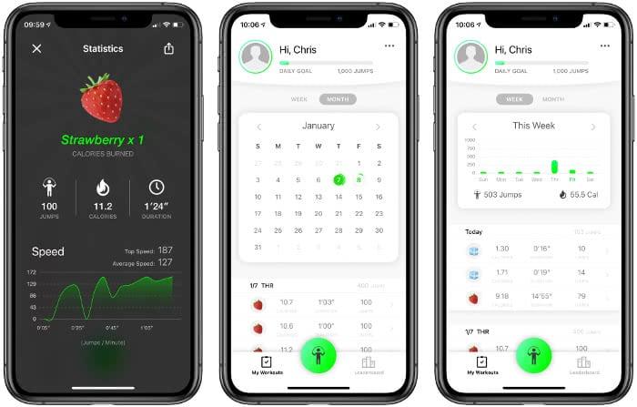 Jumpr-App Startseite und Statistik