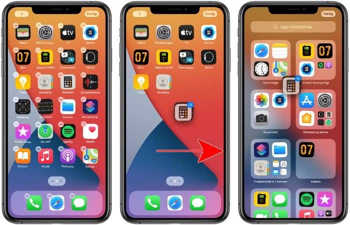 Mehrere Apps auf einmal in die App-Mediathek verschieben