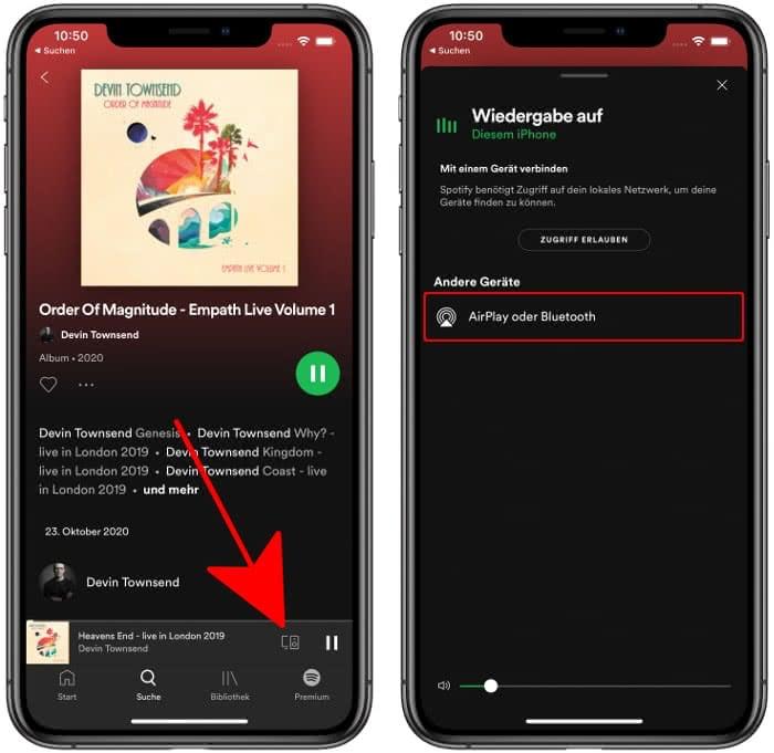 Andere Geräte auswählen in der Spotify-App
