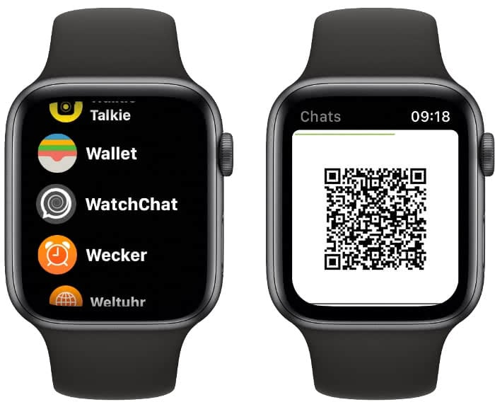 WatchChat-App und QR-Code auf der Apple Watch