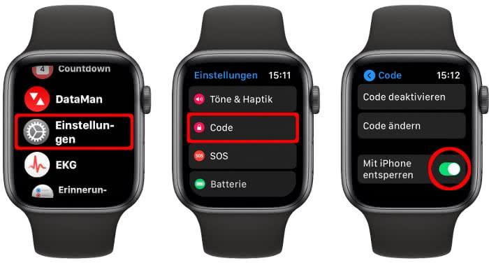 """""""Mit iPhone entsperren"""" aktivieren auf der Apple Watch"""