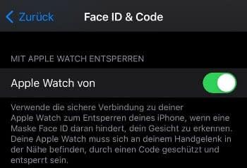 """""""Mit Apple Watch entsperren"""" aktivieren"""