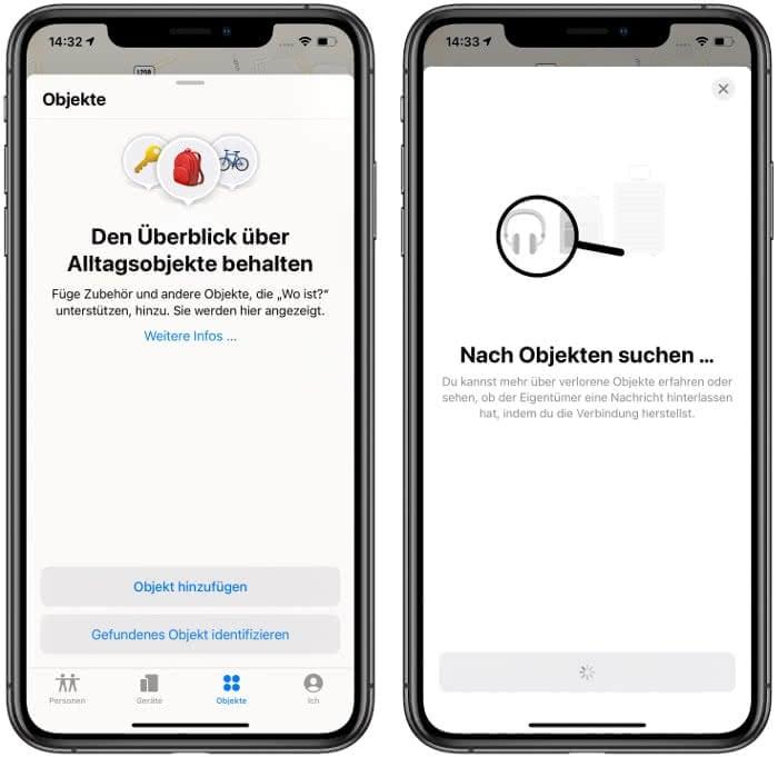Objekte-Tab in der Wo ist?-App