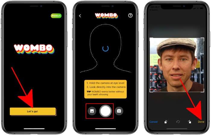 Selfie machen oder Foto auswählen in der Wombo-App