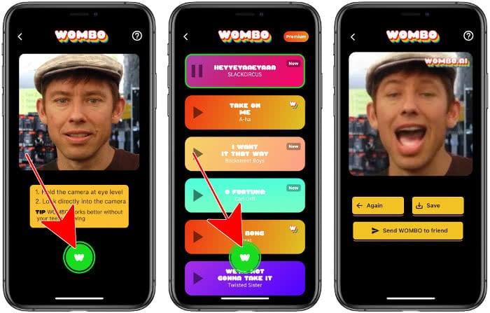 Video erstellen in der Wombo-App