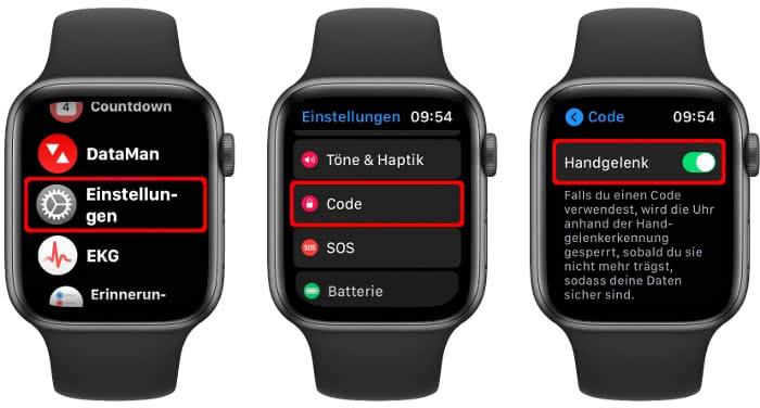 Handgelenkerkennung aktivieren auf der Apple Watch