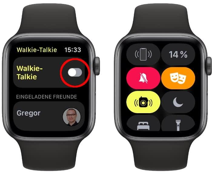 Walkie Talkie ausschalten auf der Apple Watch