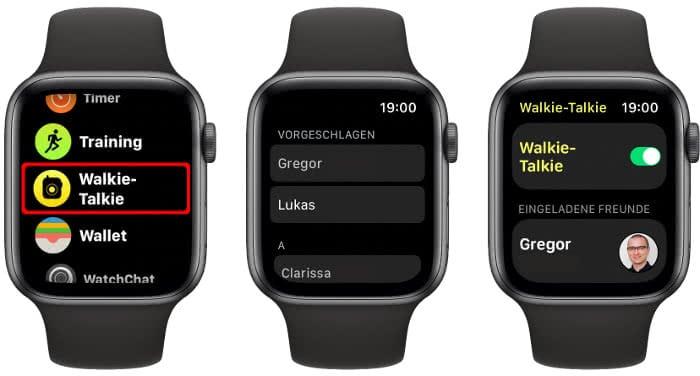 Freund einladen in der Walkie Talkie App auf der Apple Watch