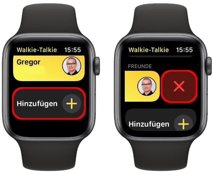 Freunde hinzufügen oder löschen in der Walkie-Talkie App auf der Apple Watch