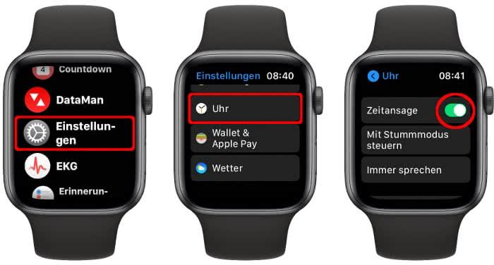 Zeitansage aktivieren auf der Apple Watch